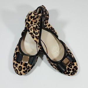 Cole Hann Tali Leopard Calf Hair Bow Ballet Flats